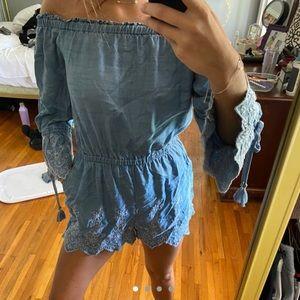 AMERICAN EAGLE blue jean romper